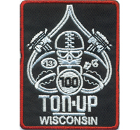 100 TON UP WISCONSIN Biker Lucky 13 PIK Card Motorcycle MC Aufnäher Patch