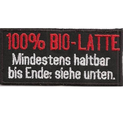 100% BIO LATTE Mindestens Haltbar bis Ende siehe unten, Biker Rocker Aufnäher Patch