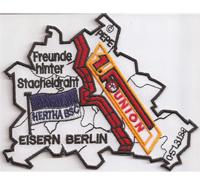 1FC Union Hertha BSC Freunde hinter Stacheldraht Eisern Berlin Aufnäher Abzeichen