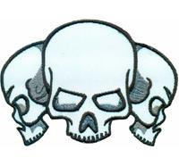 3 Skulls Skullhead Totenkopf Deathhead Biker Rockabilly Patch Aufnäher Abzeichen