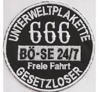 666 Unterweltplakette Böse 24/7 Gesetzloser Biker Motorrad Aufnäher Patch