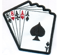 88AAA Poker Karten Cards Full House Texas Hold Em Koffer Biker Rockabilly Aufnäh