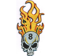 8er Brennender Totenkopf 8 Ball Motorrad Motorcycle Biker Rockabilly Aufnäher Patch