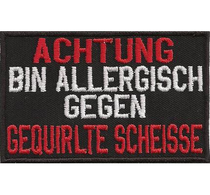 ACHTUNG allergisch gegen gequirlte scheisse, Rockerbilly Biker Kutten Patch Aufnäher
