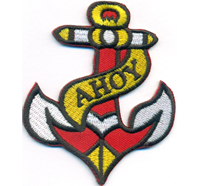 AHOY Anker Segler Seemann Baywatch Popeye Tattoo Rockabilly Aufnäher Patch