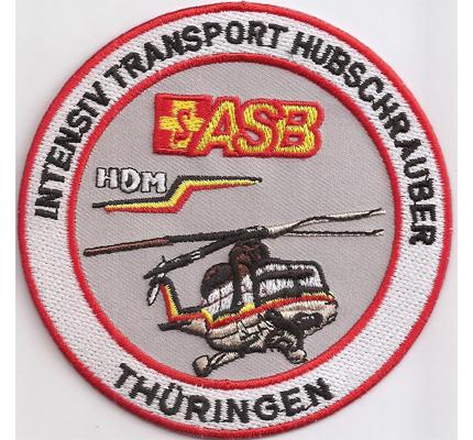 ASB Intensiv Transport Hubschrauber Thüringen Abzeichen Aufnäher Patch
