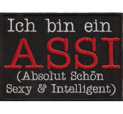 Ich bin ein ASSI, Absolut Sexy Rocker Heavy Metal Biker Spruch Aufnäher Patch