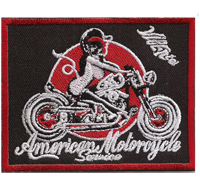 American Motorcycle Vintage Motorrad Lady Biker Girl Chopper Aufnäher Patch