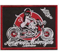 American Motorcycle Vintage Motorrad Lady Biker Girl Chopper Aufnäher Patch