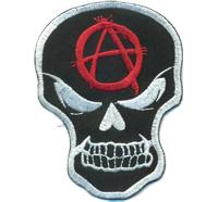 Anarchy Totenkopf Punk Rock Skelett Kopf Rockabilly Biker Patch Aufnäher Aufbügler
