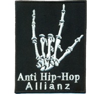 Anti Hip Hop Allianz Heavy Metal Bones Skelett Hand Rocker Aufnäher Sticker Patch