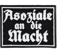 Asoziale an die Macht Punk Anarchy Biker Ultras Death Metal Aufnäher Patch Abzeichen
