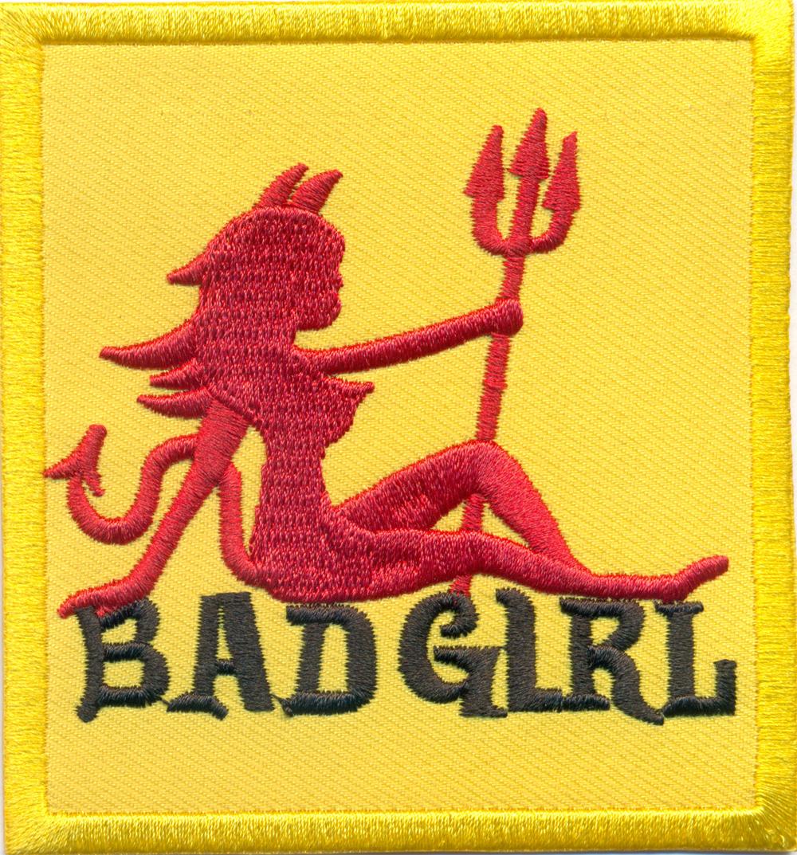 BADGIRL BAD GIRL Devil Bitch Dirty Heavy Metal Biker Rocker Aufnäher Patch Abzeichen