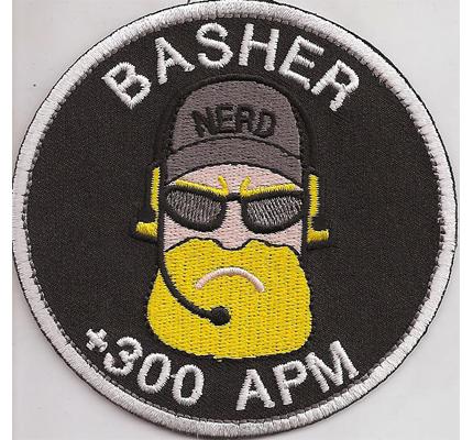 BASHER Nerd TBBT Sheldon 300 APM Progamer Zocker Emblem Aufnäher Aufbügler Patch