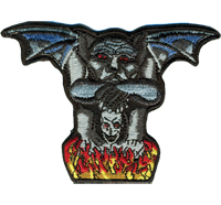 BAT Wing Skull Head Fire Demon Biker Death Metal Patch Aufnäher Abzeichen