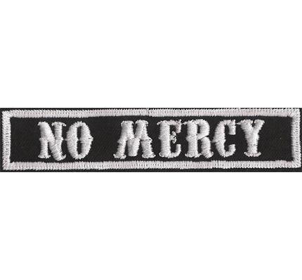 SOA sw, NO MERCY Namensschild Rangabzeichen Motorad Kutte  Patch Aufnäher