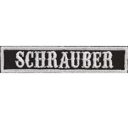 SOA sw, SCHRAUBER Namensschild Rangabzeichen Motorad Kutte  Patch Aufnäher