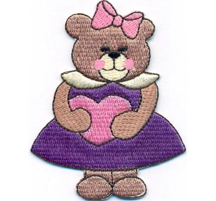 Bear with Heart Bär mit Herz Baby Kinder Kleidung Polster Aufbügler Aufnäher