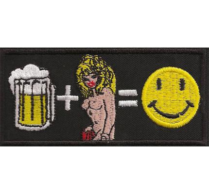 Bier + Weiber = Smiley  Saufen macht Spass Rocker Biker Aufnäher Spruch
