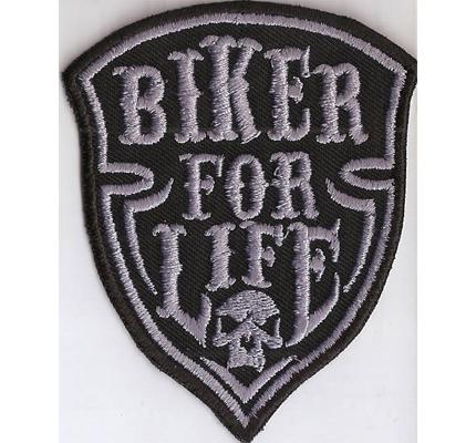 Biker For Life Totenkopf Harley Wappen Patch MC Patch Bones Aufnäher
