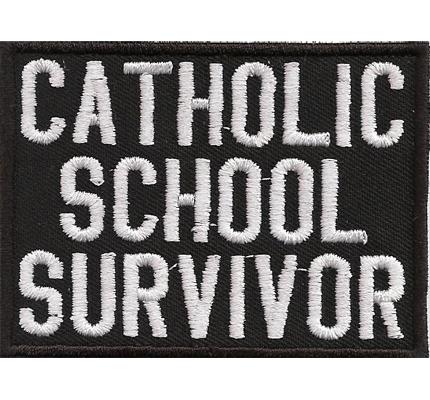 Catholic School Survivor Anti Christ Death Metal Biker Rocker Aufnäher