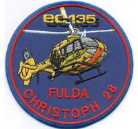 Christoph 28 FULDA EC135 Luftrettung BW ADAC Hubschrauber Helikopter Aufnäher Pa