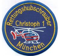 Christoph 1 Muenchen Rettungshubschrauber Luftrettung Helikopter Aufnäher Patch