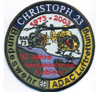 Christoph 23 Bundeswehr ADAC Luftrettung 30Jahre Rettungshubschrauber Aufnäher Abzeichen