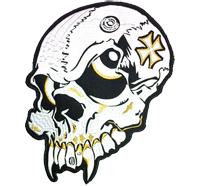Crazy BIG Skull Head Vampire Iron Cross Death Metal Biker Patch Aufnäher