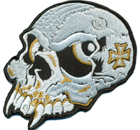 Crazy Skull Head Vampire Iron Cross Death Metal Biker Patch Aufnäher Abzeichen