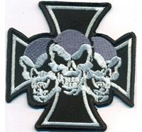 Eiserneskreuz 3er Totenkopf Deathhead Biker Rockabilly Heavy Metal Aufnäher Patch