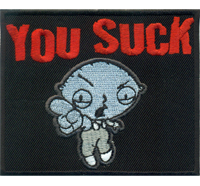 You SUCK Family Guy Stewie Rockabilly Heavy Metal Biker Kutte Patch Aufnäher Sti