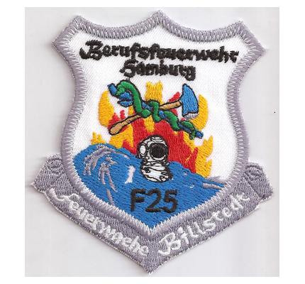 Feuerwehr Ärmelabzeichen Berufsfeuerwehr Hamburg F25 Patch Aufnäher