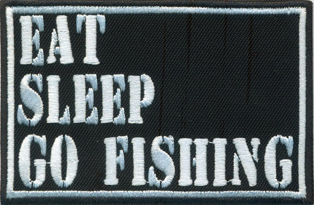 Angler Eat Sleep Fishing Carphunting Fliegenfischen Aufnäher Patch Abzeichen