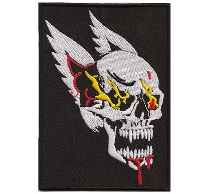 Free Rider Ghostrider Skull Flame Head Totenkopf Flügel Biker Rocker Patch Aufnäher