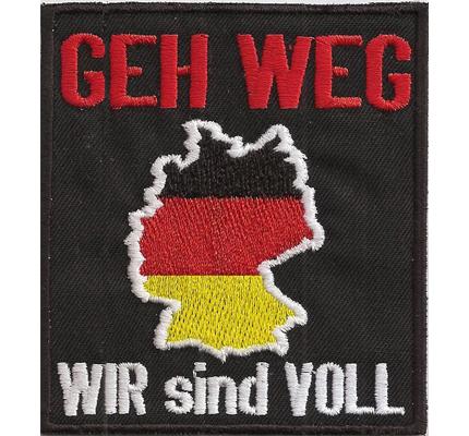 GEH WEG Deutschland wir sind voll Heavy Metal Biker Rocker Kutte Aufnäher
