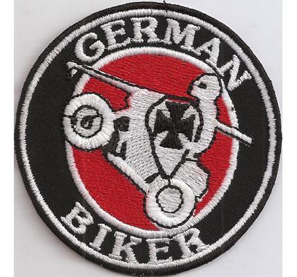 German Biker Ritter mit Lanze Motorbike Deutsches Kreuz Ironcross Aufnäher Patch