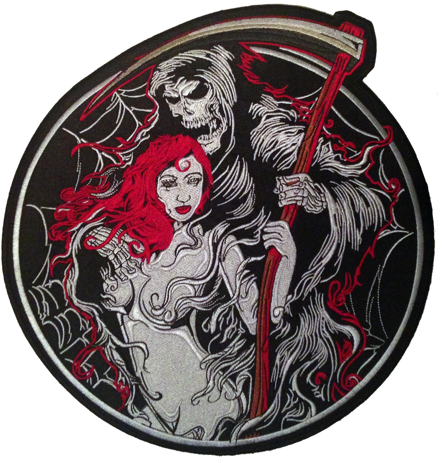 Grimm Reaper Devil Lady Sexy Girl Biker Sensenmann Deathman Rockabilly Aufnäher