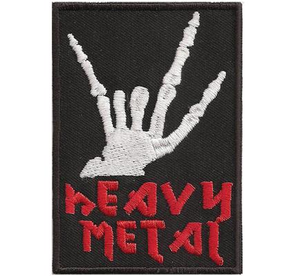 HEAVY METAL Finger Hand Rocker Kutte Spruch Rocker Aufnäher Patch Abzeichen
