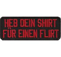 Heb dein Shirt für einen Flirt Motorrad Motocycle Weste Aufbügler Aufnäher Patch