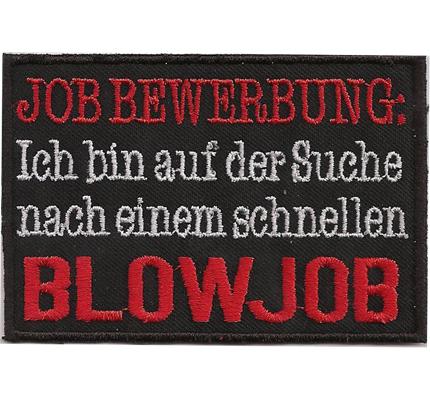 Job Bewerbung Blowjob, Rocker Biker Motorrad Aufnäher Aufbügler Patch