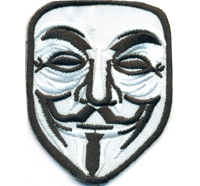 Anonymous Maske Hacker Kostüm Uniform Anarchist Demo Rocker Aufnäher Patch
