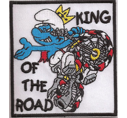 Biker Schlumpf Smurf King of the Road Biker Rocker Kutte Patch Aufnäher