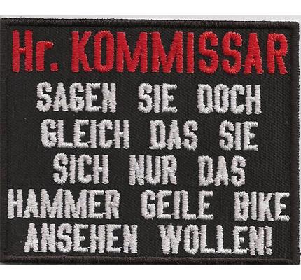 Kommissar Anti Polizei Motorrad Rocker Biker kutte Spruch Aufnäher Patch