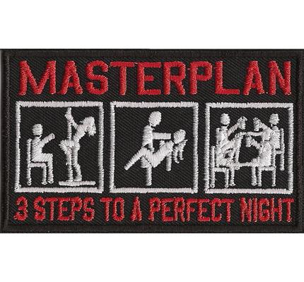 MASTERPLAN 3 Steps to a perfect NIGHT, Biker Rocker Motorcycle Patch Aufnäher