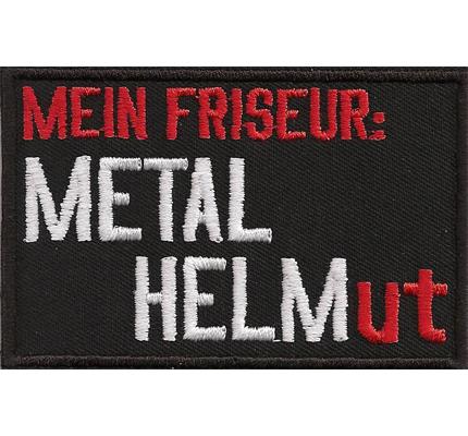 Mein Friseur: Metal Helm Helmut Heavy Metal Biker Rocker Aufnäher
