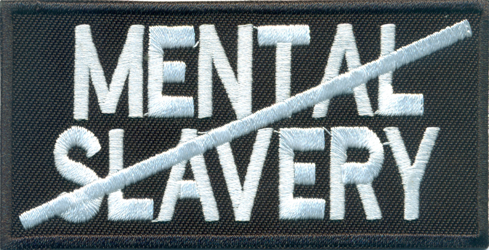 ANTI MENTAL SLAVERY, Punk Anarchy Heavy Metal Biker Rocker Aufnäher Patch Abzeichen