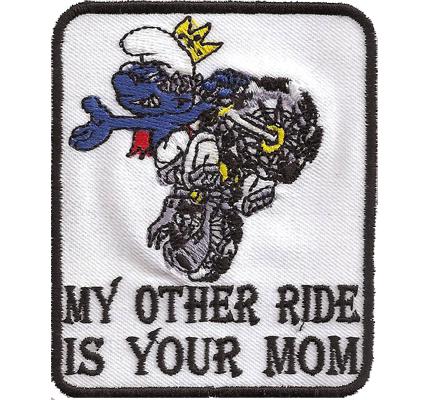My Other Ride is your mom, Biker Schlumpf Smurf Lederweste Aufnäher Patch