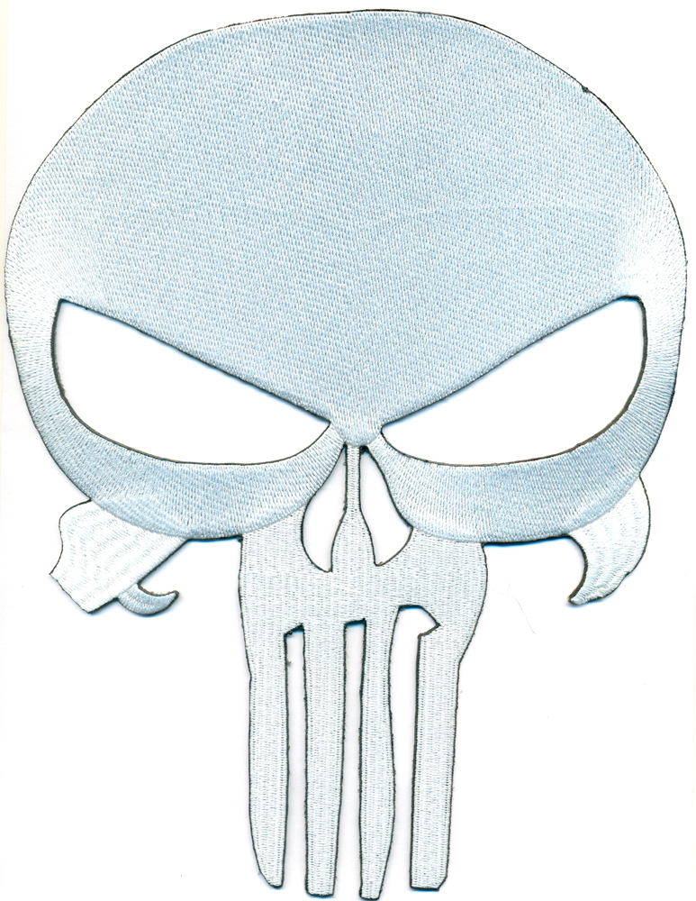 XXL THE PUNISHER Totenkopf Skullhead Skelett Biker Heavy Metal Aufnäher BACKPATC