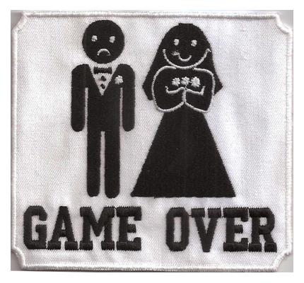 Polterabend Game Over Junggesellenabschied T-Shirt Aufbügler Aufnäher